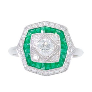 Emerald Deco Ring
