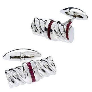 Silver & ruby cufflinks