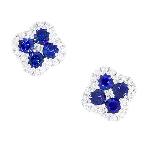 Sapphire & Diamond Clover Studs