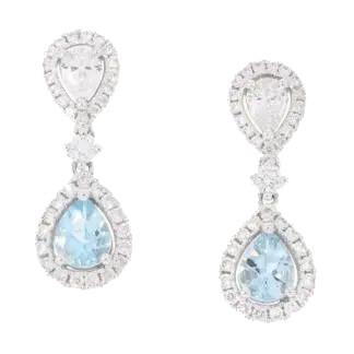 Aqua & Diamond Earrings