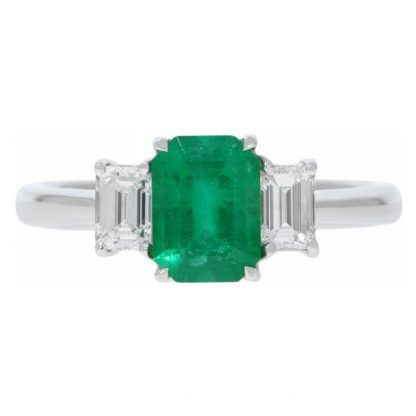 Emerald & Diamond 3 Stone