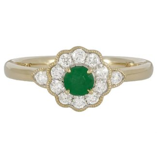 Scalloped Edge Emerald Cluster