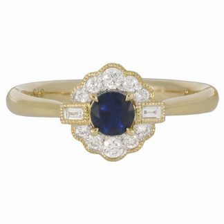 9ct yellow gold sapphire cluster