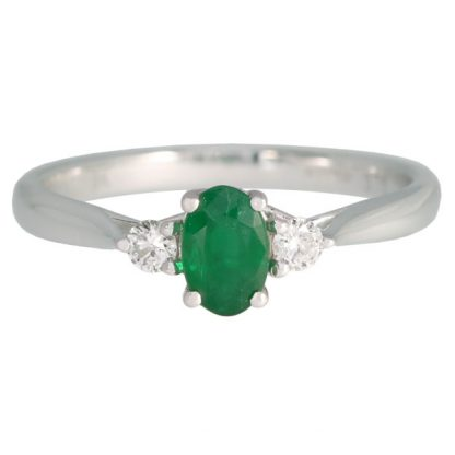 emerald & diamond 3 stone ring