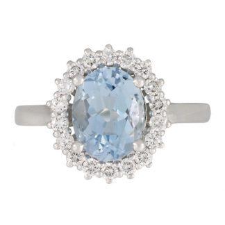 18ct Aquamarine & Diamond Cluster