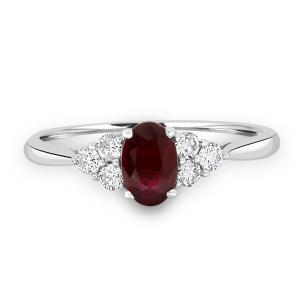 Ruby with diamond trefoil