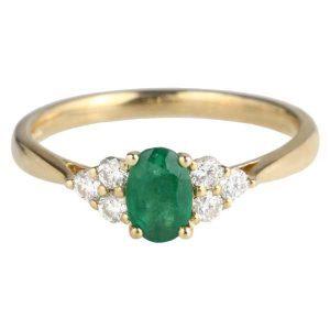 emerald & diamond trefoil