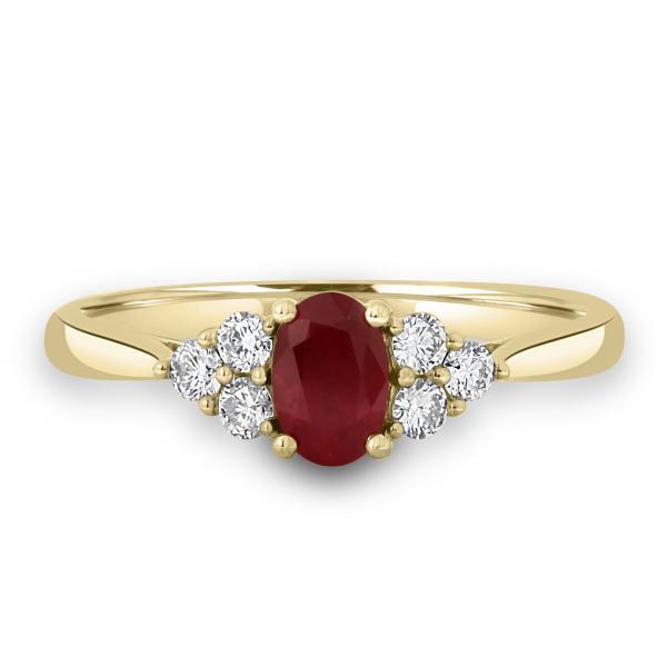 ruby with trefoil of diamonds