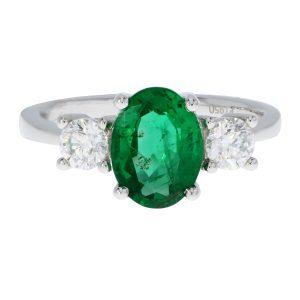Emerald & Diamond 3 Stone