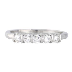 5 stone bar set eternity ring