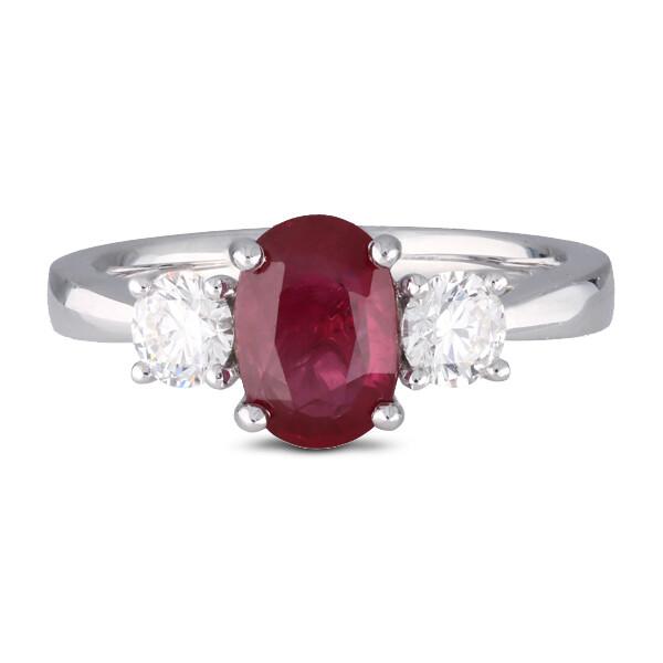 Ruby & Diamond 3 Stone Ring