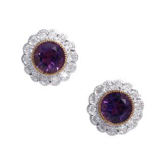Amethyst Cluster Stud Earrings