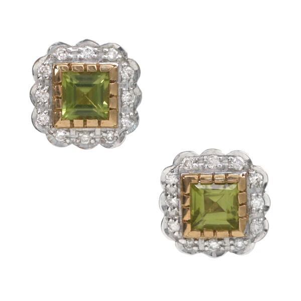Peridot & Diamond Studs