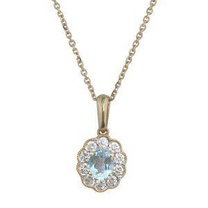 Aquamarine cluster pendant