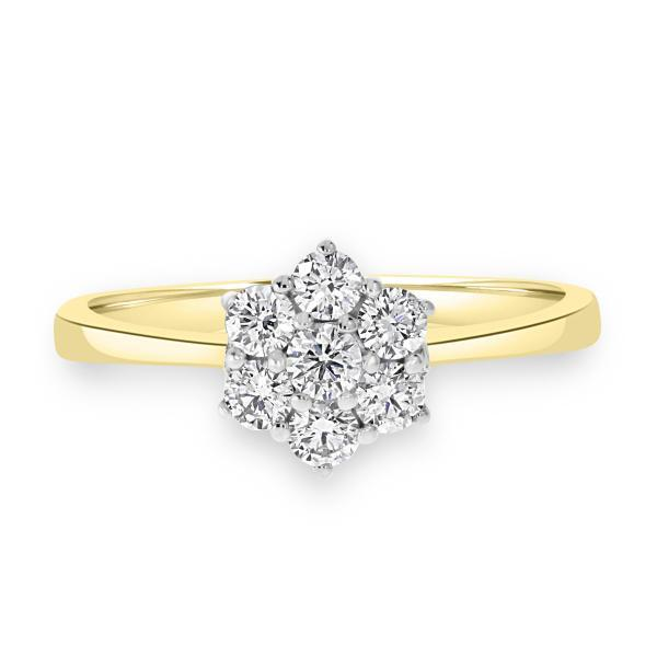 Yellow Gold Cluster Ring