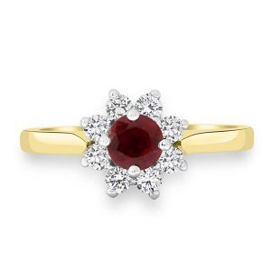 Yellow Gold Ruby Cluster