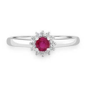 White Gold Ruby Cluster
