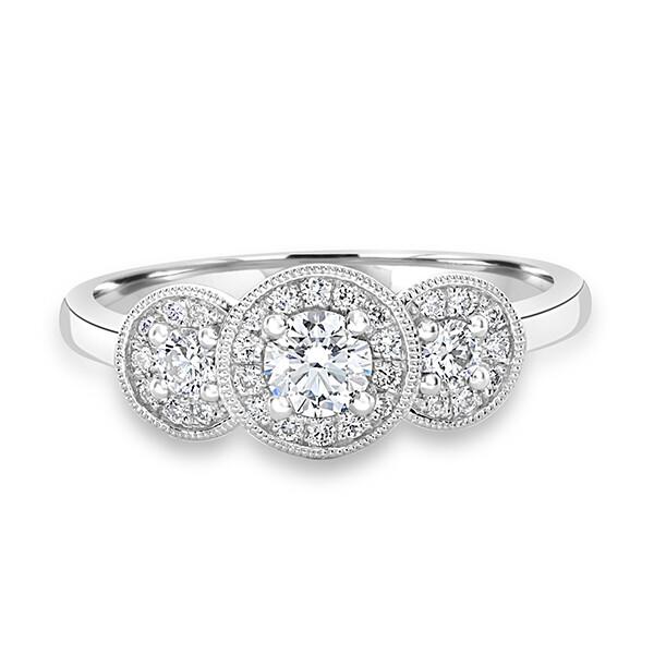 3 Stone Halo Ring