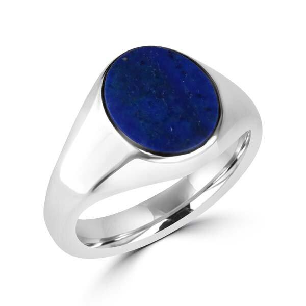 Silver Lapis Signet Ring